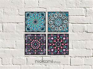 moroccan tiles canvas set blue and pink moroccan wall decor With moroccan wall art