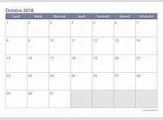 Calendrier octobre 2018 à imprimer iCalendrier