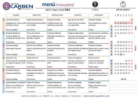 menu comedor men 218 del comedor abril junio 2012 ceip los llanetes