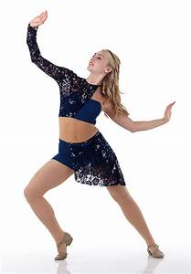 Contemporary Lyrical Dress Costume Dance Navy Lace Sequin ...