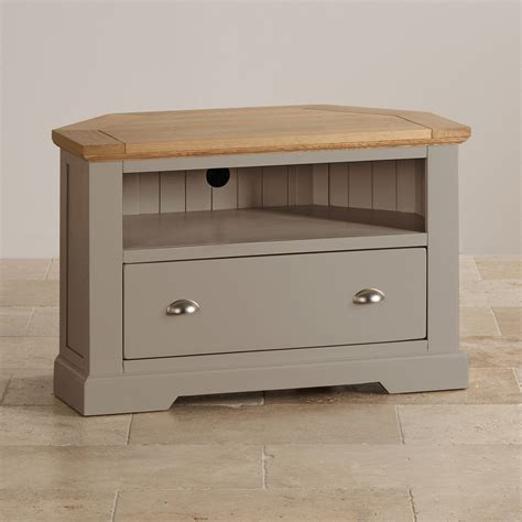 small corner tv cabinet st ives corner tv cabinet in grey painted acacia with oak top