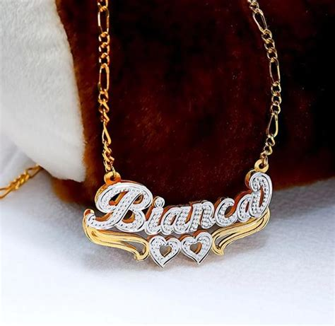 double plated beaded curved nameplate necklace  hearts  monogrammed