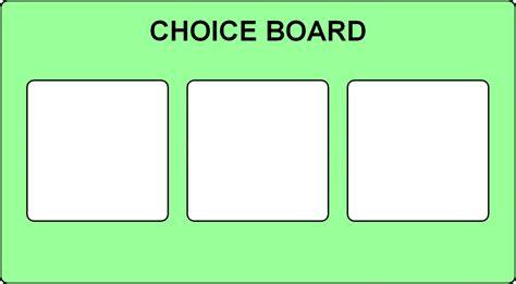 choice board template choice board 3 options