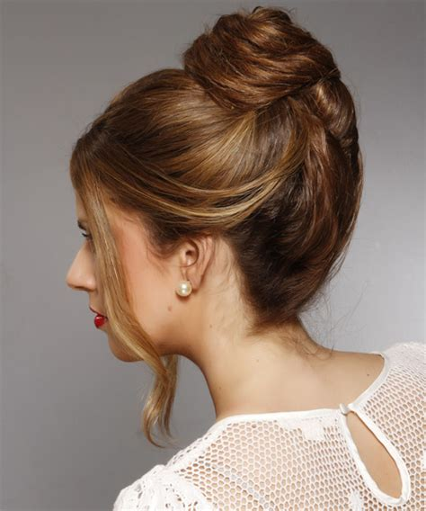 casual long straight updo hairstyle dark brunette hair