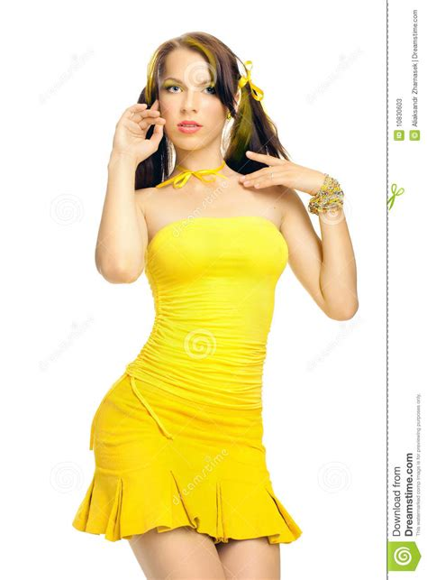 Sex Girl In A Yellow Dress Stock Image Image Of Elegant 10830603