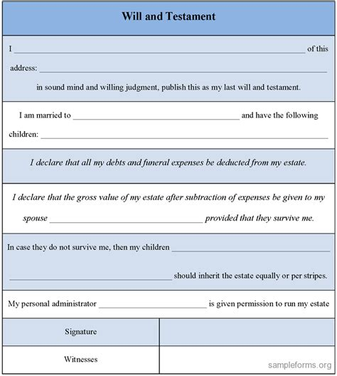 Downloadable Will Template by Will And Testament Form Sle Forms
