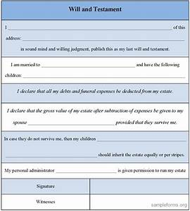 Will and testament template free printable documents for Free will templates online