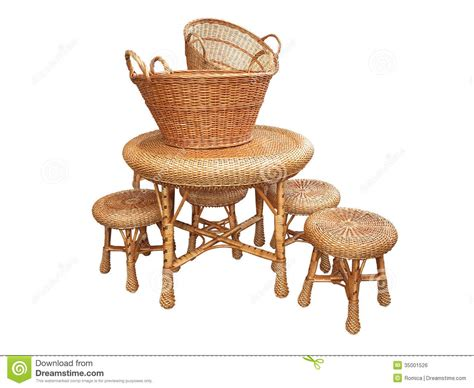 wicker furniture table chair and baskets isolated