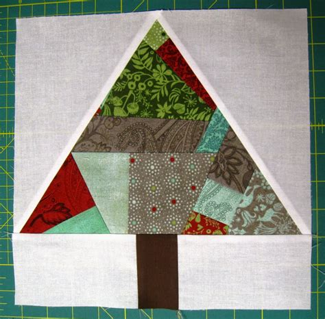 happy quilting paper pieced improv trees  christmas