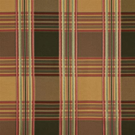 plaid drapery fabric b0220f green gold burgundy stripes plaid silk look