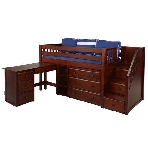 low loft bed with desk marlowe low loft bed with dresser bookcase desk and