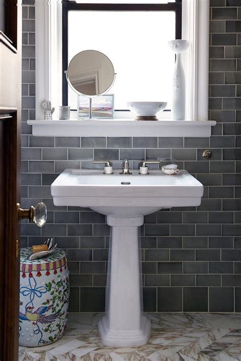 grey subway tiles bathroom transitional with gray blue
