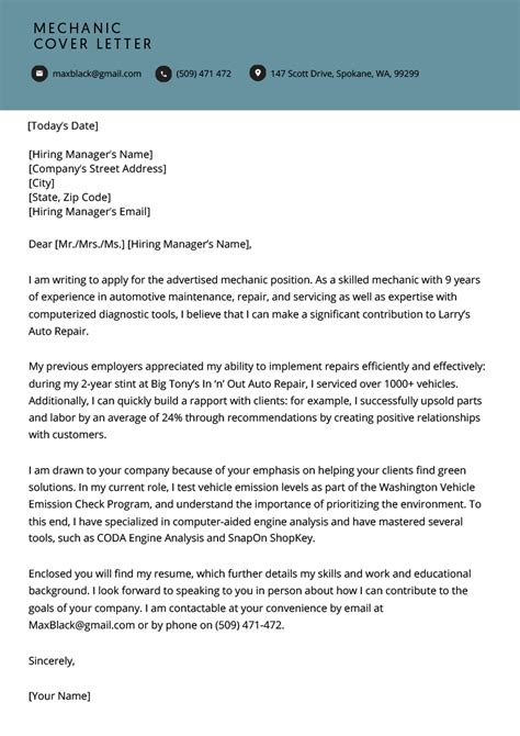 Cover Letter For A Mechanic by Mechanic Cover Letter Free Downloadable Sle Resume