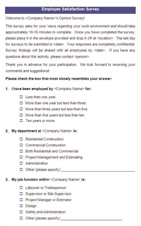 employee survey 9 employee satisfaction survey templates sles doc pdf free premium templates