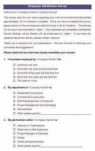 employee satisfaction survey templates 10 free word With employee satisfaction survey template word