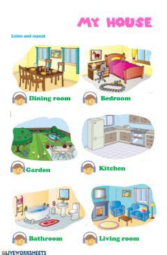 rooms   house interactive worksheet