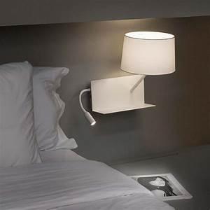 Lampe Chevet Murale : applique chevet port usb et liseuse ~ Premium-room.com Idées de Décoration