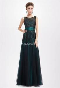 robe de soiree en vert emeraude et noir With robe de soirée vert émeraude