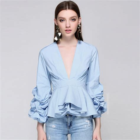 Fashion Silket V Neck newest fashion 2017 runway designer tops blouse s