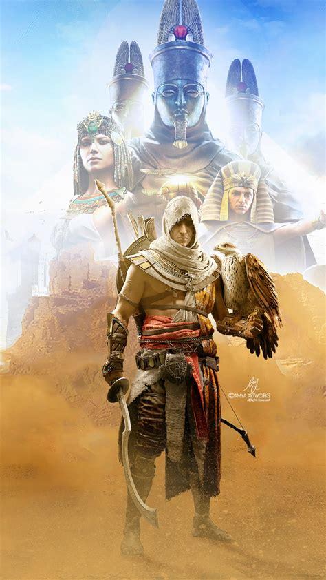 wallpaper bayek assassins creed origins artwork