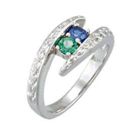 ring with birthstones 2 heavy bypass mothers ring