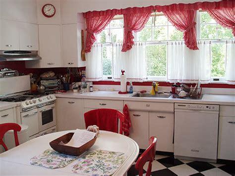 david creates  sunny red  white vintage kitchen