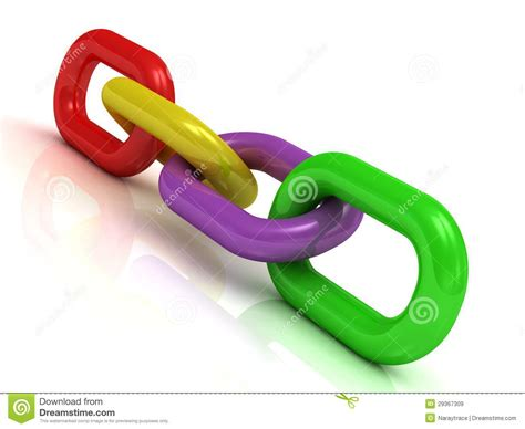 Colorful Plastic Chain Of Four Links Stock Illustration
