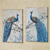 magnificent peacock wall mural Magnificent Peacock Giclee Canvas Wall Art Set