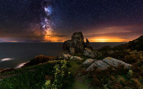 Wallpaper Landscape Sea Night Galaxy Rock Nature