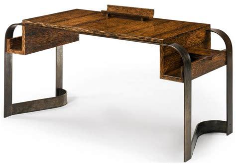 bureau patiné déco eugène printz bureau bois de palmier et fer