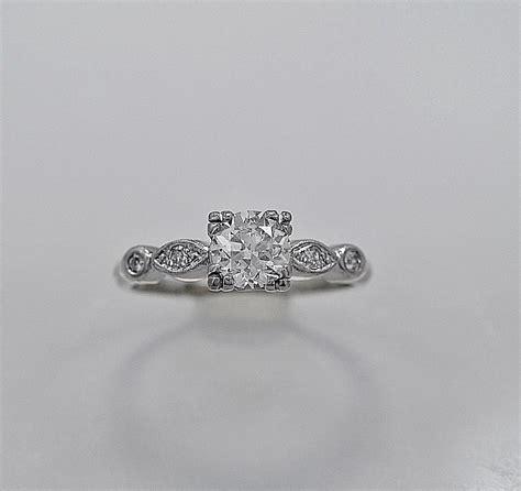 antique engagement ring ct diamond palladium art