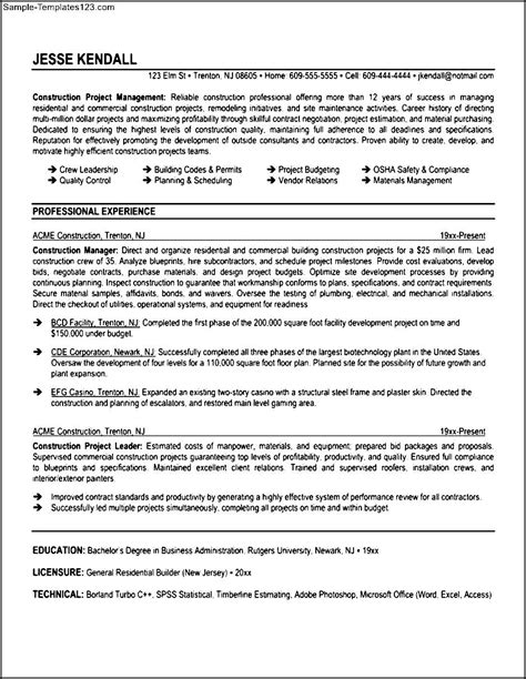 Construction Supervisor Resumes by Construction Supervisor Resume Sle Templates