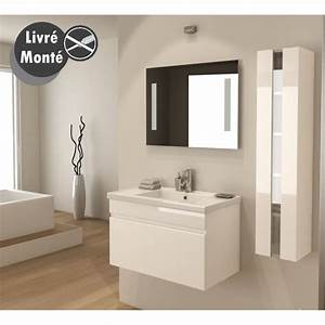 alban ensemble salle de bain simple vasque 80 cm blanc With meuble salle de bain simple vasque 80 cm