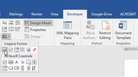 microsoft word 2016 create a form with submit button