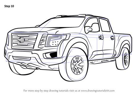 learn   draw nissan titan warrior truck trucks step  step drawing tutorials