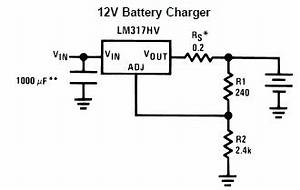 lm317 12 volt battery charger electronic circuit design With an adjustable voltage regulator lm317 to design the charging circuit