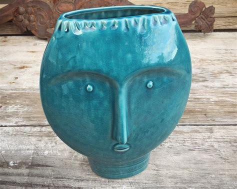 mid century modern art pottery face vase blue decor