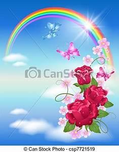 EPS Vektoren von regenbogen, rosen Rainbow, wolkenhimmel