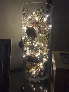 Vase, Filled, With, Ornaments, And, Mini, Lights, Christmas, Decoration