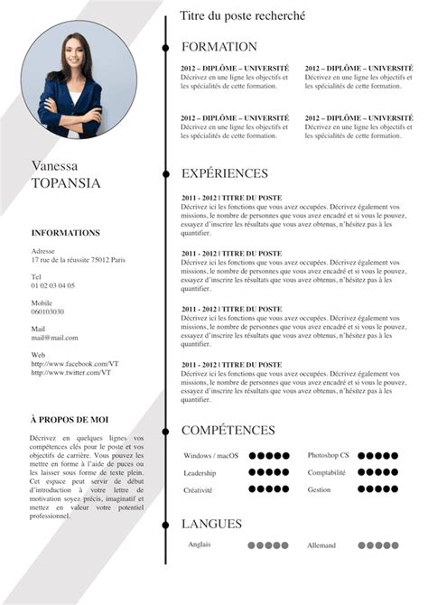 Template De Cv Gratuit by Cv Gratuit 233 L 233 On Et Moderne Deco Cv Models Resume