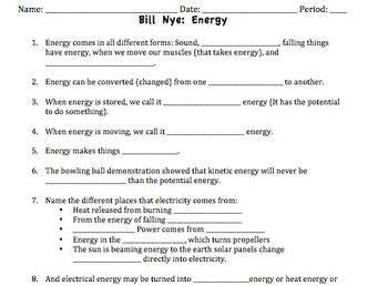 bill nye energy video worksheet bill nye worksheets