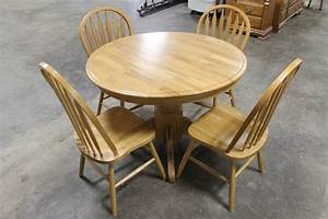 Round, Wooden, Drop, Leaf, Kitchen, Table, With, 4