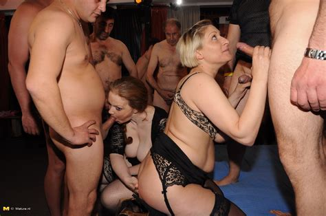 german mature gangbang party lots of dicks and only two lusty pussies