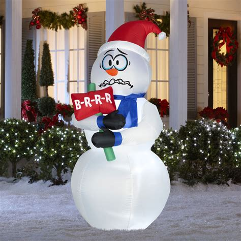 animated inflatable shivering snowman