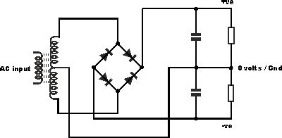 rectifier connecting center tapped transformer  earth