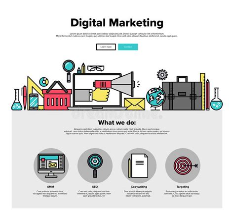 digital marketing websites digital marketing flat line web graphics stock vector