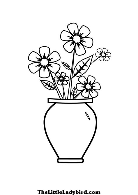flower vase coloring free flowers in a vase coloring page thelittleladybird