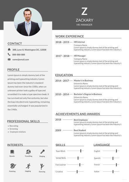 architect resume template  adobe photoshop