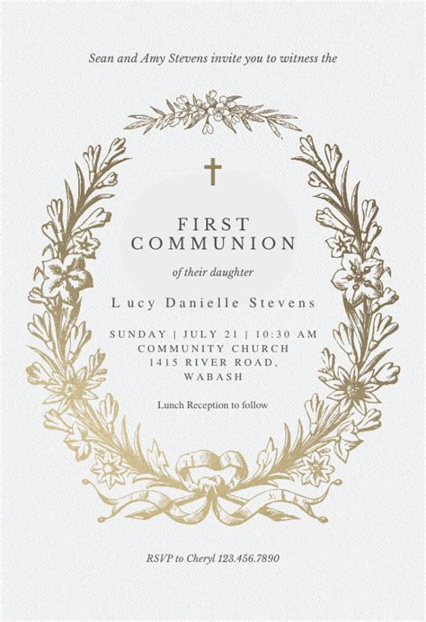 golden wreath  holy communion invitation template