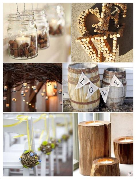 decoration salle mariage automne boule rotin bouchon liege initiale photophore gland